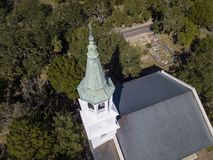 Aerial view of church and steeple in Beaufort, South Carolina. Aerial view of church and steeple with graveyard in Beaufort, South Carolina Royalty Free Stock Images