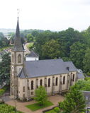 Aerial view of church in Useldange, Luxembourg, Europe Stock Image