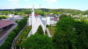 Aerial view of the Church stock footage