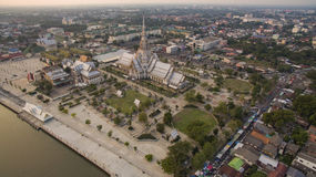 Aerial view church of wat sothorn temple important religion land Stock Photo