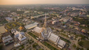 Aerial view church of wat sothorn temple important religion land Stock Photography