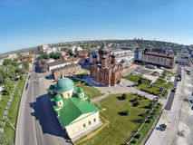 Aerial View on churches on the central square of Tula Royalty Free Stock Photography