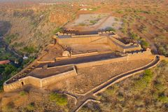 Aerial view of Cidade Velha old fort in Santiago - Cape Verde - Cabo Verde stock photo