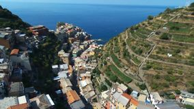 Aerial view of Cinque Terre, Italy stock video