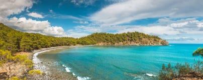 Aerial view of Cirali Beach from ancient Olympos ruins, Antalya Turkey.  Royalty Free Stock Photos