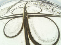 Aerial view of the circular motorway junction Royalty Free Stock Photos