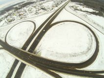 Aerial view of the circular motorway junction Royalty Free Stock Photography