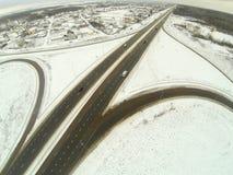 Aerial view of the circular motorway junction Stock Image