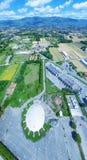 Aerial view of circular sport game stadium Royalty Free Stock Photo