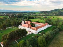 Aerial view of Cistercian monastery Kostanjevica na Krki, homely appointed as Castle Kostanjevica, Slovenia, Europe royalty free stock photo