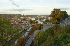 Aerial view, from the citadel, of the city of Namur, Belgium, Europe Stock Photo