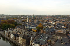 Aerial view, from the citadel, of the city of Namur, Belgium, Europe. Aerial view of city of Namur in Belgium. The picture is taken from city`s famous citadel royalty free stock photography