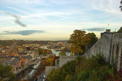 Aerial view, from the citadel, of the city of Namur, Belgium, Europe. Aerial view of city of Namur in Belgium. The picture is taken from city`s famous citadel Stock Image