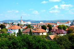 Aerial view of the city Alba Iulia, Transylvania. The modern city is located near the site of the important Dacian political, economic and social centre of royalty free stock photo