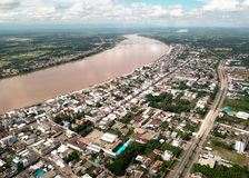 Aerial view of City along the Mekong river Stock Photo