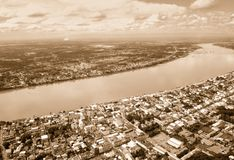 Aerial view of City along the Mekong river Retro style Stock Photos