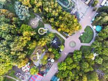 Aerial view of city amusement park. drone photo royalty free stock photography