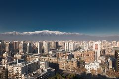 Aerial view of a city and The Andes mountain in the background, Stock Photo