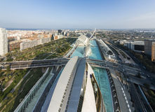 Aerial view of City of Arts and Sciences in Valencia Stock Photos