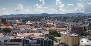 Aerial view of the city on August 21, 2018 in Cluj-Napoca. stock images