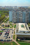 Aerial view of the city Balashikha in Moscow region, Russia. Aerial view of the modern and old residential district in city Balashikha. Moscow region, Russia Stock Images
