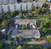 Aerial view of city Balashikha. Moscow region, Russia. Top view of a kindergarten in the yard of a residential house. Balashikha, Moscow region, Russia Stock Photos
