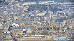 Aerial View of the City of Bath in Somerset England. Bath, UK - February 2, 2017: Aerial View of Bath Abbey and surrounding city. The picturesque Somerset city stock photos