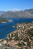 An aerial view of the city and the bay of Kotor. Royalty Free Stock Photo