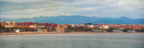 Aerial view of the city beach in Valencia, Spain Royalty Free Stock Photo