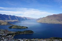 Aerial view of the city and beautiful lake from Bob` peak in Que Stock Images