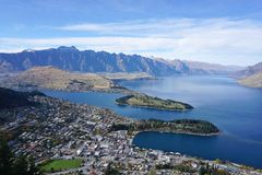 Aerial view of the city and beautiful lake from Bob` peak in Que Stock Photo