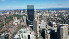 Aerial view of the City of Boston stock footage