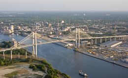 Aerial view of city and bridge Stock Image