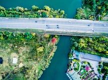 Aerial view - city bridge Royalty Free Stock Photos