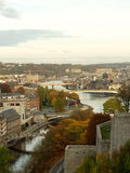 Aerial view of the city and the bridges of Namur, Belgium, Europe. Aerial view of city of Namur in Belgium. The picture is taken from city`s famous citadel Stock Image