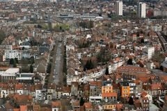 Aerial view of city buildings in Brussels. Landscape aerial view of Brussels city buildings Royalty Free Stock Image