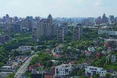 Aerial view of the city buildings and private houses from Monumental statue Mother Motherland Stock Image
