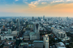 Aerial view city business district with blue sky background Stock Photos