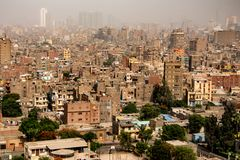 Aerial view on the city of Cairo, Egypt, Africa. Cairo is the largest city on the African continent stock photo