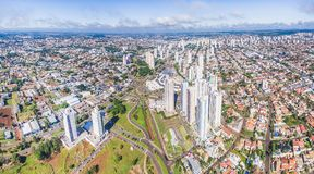Aerial view from the city of Campo Grande on a beautiful day. Campo Grande, Brazil - March 22, 2018: Aerial view from the city of Campo Grande on a beautiful Royalty Free Stock Images