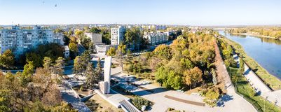 Aerial view of of Bendery (Bender) city on river of Dniester, in break away Transnistria (Moldova). royalty free stock image