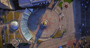 Aerial view on the city center of Kiev. Independence square Stock Image