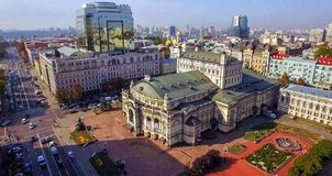 Aerial view on the city center of Kiev. Opera theater Royalty Free Stock Photography