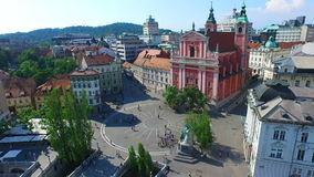 Aerial view of city center in Ljubljana, Slovenia. stock footage