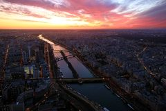Sunset view from thrid floor of Eiffel Tower. Stock Photography