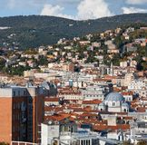 Aerial view of the city center. Trieste, Italy stock photo