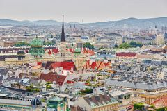 Aerial view of city center in Vienna Royalty Free Stock Images