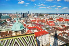 Aerial view of city center in Vienna Royalty Free Stock Photos