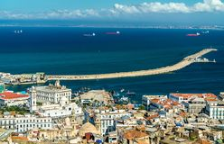 Aerial view of the city centre of Algiers in Algeria. Aerial view of the city centre of Algiers, the capital of Algeria stock photography
