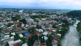 Aerial view on the city centre of Kutaisi stock video footage